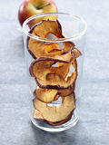 Thin round slices of dried apple Stock Image