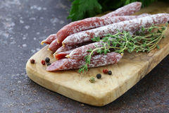 Thin salami sausage snack with herbs Royalty Free Stock Photography