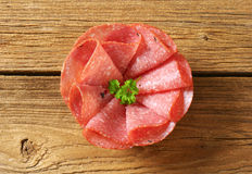 Thin salami slices Stock Photos