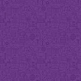 Thin School Line Education Knowledge Purple Seamless Pattern Stock Image