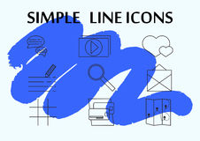 Thin simple line icons set. Icons for business and social networks. Stock Image