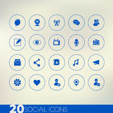 Thin simple social blue icons on light background Stock Images