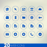 Thin simple web blue icons on light background Royalty Free Stock Image