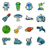 Thin simply icons set with space tehlology Stock Images