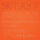 Thin Sketchy Font Stock Image
