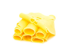 Thin slice of cheese isolated Royalty Free Stock Photography