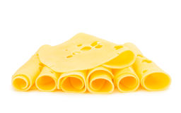 Thin slice of cheese isolated Stock Photo