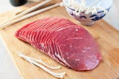 Thin sliced korean meat Royalty Free Stock Image