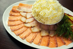 Thin Sliced Salmon Sashimi Served ,sliced salted fish on a plate Stock Photography