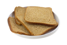 Thin Sliced Wheat Bread On Dish Stock Photography