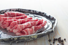 Thin slices of fresh beef Royalty Free Stock Photos