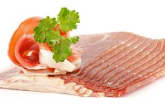 Thin slices of jamon Stock Image