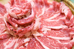 Thin slices of meat stock images
