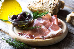 Thin slices of prosciutto Royalty Free Stock Photos