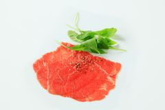 Thin slices of raw beef tenderloin Royalty Free Stock Images