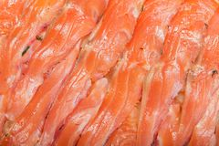 Thin slices of salmon Stock Images