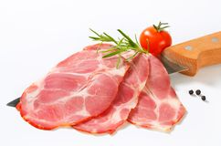 Thin slices of smoked pork Stock Images