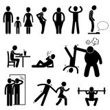 Thin Slim Skinny Weak Man Pictogram Stock Images