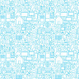 Thin Smart House Line Seamless White Pattern Stock Photography