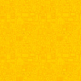 Thin Smart House Line Seamless Yellow Pattern Royalty Free Stock Images