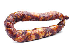Thin smoked sausage Royalty Free Stock Photography
