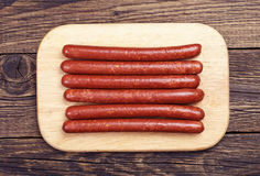 Thin smoked sausage Royalty Free Stock Photos