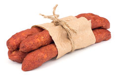 Thin smoked sausages Stock Images