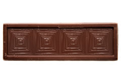 Thin squared chocolate bar top view Stock Photos