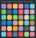 Thin Style icon set - simple color square. Simple line icon Royalty Free Stock Photo