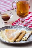 Thin sweet pancakes with powdered sugar for Breakfast, Maslenits Stock Photography
