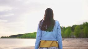 A thin teenager in modern clothes strolls along a deserted shoreline with sand stock footage