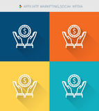 Thin thin line icons set of affiliate marketing and social media, modern simple style royalty free illustration