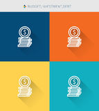 Thin thin line icons set of budget & investment and debt, modern simple style. ! Stock Photo