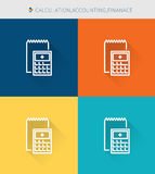 Thin thin line icons set of calculation accounting finance, modern simple style. ! Stock Photo