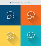 Thin thin line icons set of communication & talk and chat , modern simple style. ! Royalty Free Stock Image