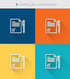 Thin thin line icons set of contract & document, modern simple style Stock Photos
