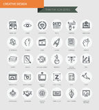 Thin thin line icons set of creative design, modern simple style Royalty Free Stock Photography