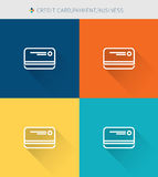 Thin thin line icons set of credit card & payment and business , modern simple style. ! Royalty Free Stock Photos
