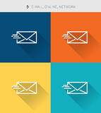 Thin thin line icons set of e-mail & online network ,modern siple style Stock Images