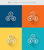 Thin thin line icons set of exchange rate & market, modern simple style. ! Royalty Free Stock Images