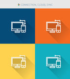 Thin thin line icons set of finance connection & cloud and sync, modern simple style Royalty Free Stock Photo