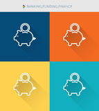 Thin thin line icons set of finance & piggybank and savings , modern simple style. ! Stock Photo
