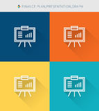 Thin thin line icons set of finance plan & presentation and graph, modern simple style. ! Royalty Free Stock Photos