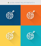 Thin thin line icons set of global marketing∫ernet media, modern simple style vector illustration