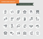 Thin thin line icons set of human hand concept, modern simple style. ! Stock Photo