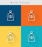 Thin thin line icons set of income & earning and money, modern simple style. ! Stock Photo