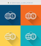 Thin thin line icons set of international & global and payment, modern simple style. ! Stock Photos