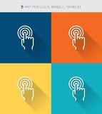 Thin thin line icons set of mobile & pay per cilck and payment ,modern simple style Stock Photo