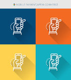 Thin thin line icons set of mobile payment & app and m-commerce, modern simple style. ! Stock Images