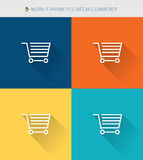 Thin thin line icons set of mobile payment & cart and m-commerce, modern simple style Stock Image